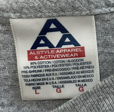 Alstyle Apparel and Activewear (AAA) 90% cotton 10% polyester Made in USA
