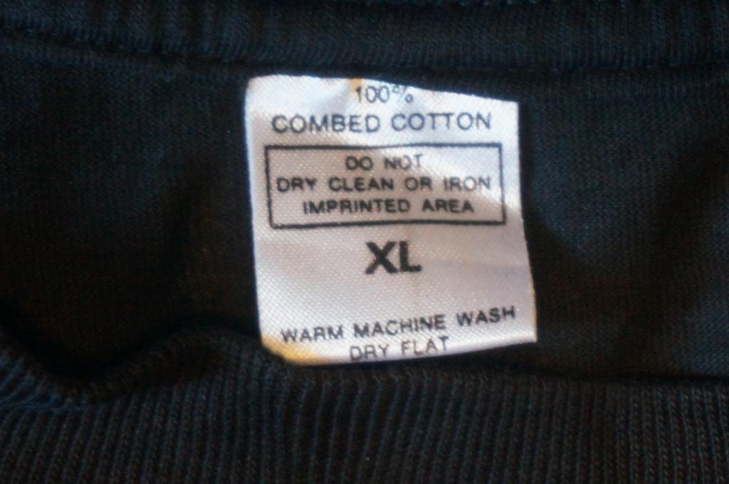 100% combed cotton xl European tag