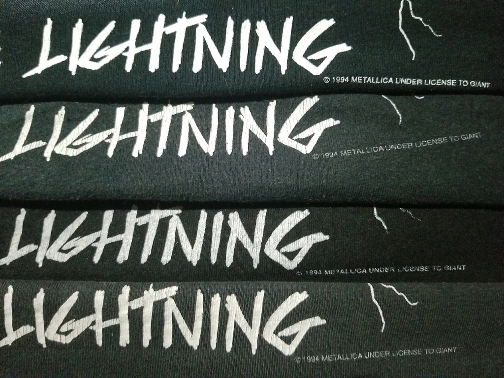 4 metallica ride the lightning t-shirts with 1994 copyright